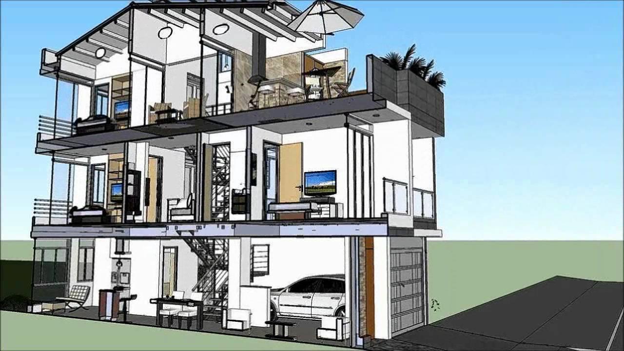 Casa de 3 pisos x m 220 m2 cortes youtube for Diseno de apartamentos de 3 pisos