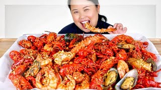 MUKBANG SEAFOOD BOIL! 먹방 (EATING SHOW!) KING CRAB + GIANT SHRIMP + MUSSELS + CRAWFISH