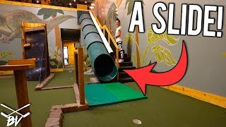 THE CRAZIEST MINI GOLF COURSE EVER! - LUCKY MINI GOLF HOLE IN ONE AND INSANE HOLES!