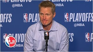 Steve Kerr: Warriors 'excited about the win, but concerned for' Kevin Durant | 2019 NBA Playoffs