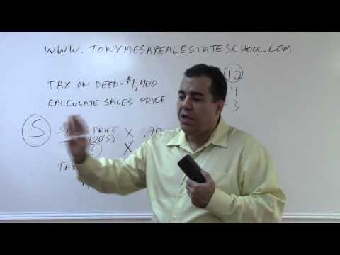 Florida Real Estate Exam Prep Math 13: Calculating Sales Price from Tax on Deed