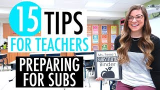 How To Prepare for a Substitute | 15 Tips for Teachers