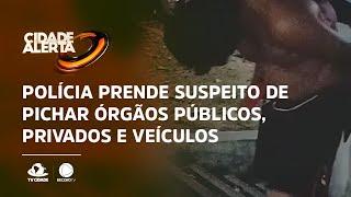Polícia prende suspeito de pichar órgãos públicos, privados e veículos