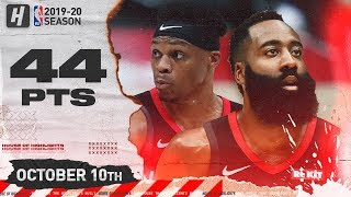 Russell Westbrook & James Harden EPIC Full Highlights vs Raptors (2019.10.10) - 44 Pts Combined!