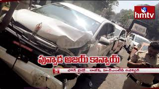 TRS Minister Puvvada Ajay narrow escape from accident in T..