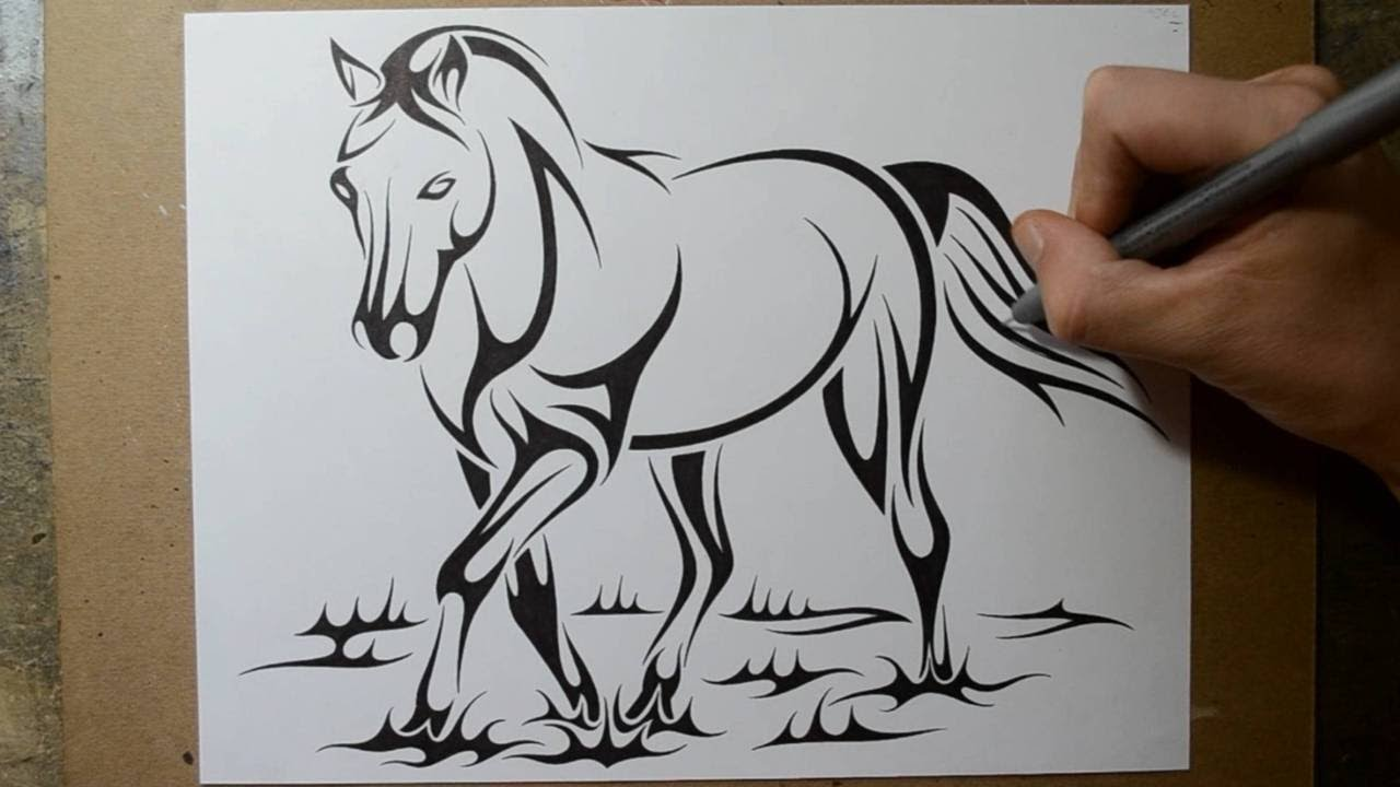 How To Draw A Horse - Tribal Tattoo Design Style