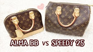 What fits inside? Louis Vuitton Alma BB vs Speedy 25 Comparison (Speedy B 25)