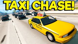 BIGGEST POLICE ESCAPE WITH A TAXI?! - BeamNG Gameplay & Crashes - Cop Escape