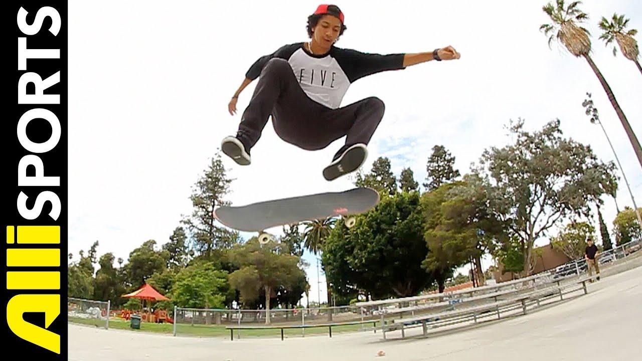 Kickflip skateboarding trick and ollie