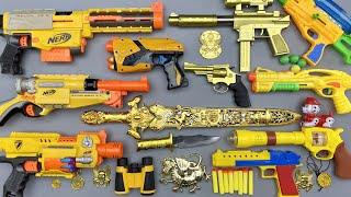 Golden Colored Tec-9 Gun & Nerf Shotguns. Sun Sword - Ball Bullet Weapon & 3D Lighted Dog Weapon