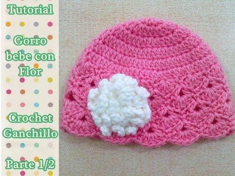 Como tejer gorro crochet ganchillo para niña con flor | VideoMoviles.com