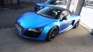 Audi R8 Spyder wrapped in Satin CHROME BLUE!