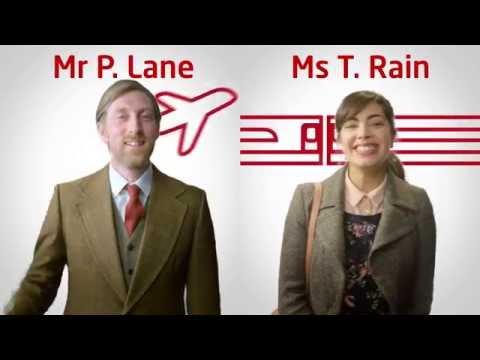 Train vs Plane - follow Mr P. Lane & Ms T. Rain on their journeys between London & Scotland