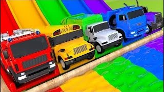 Learn Colors Street Vehicle Vs Toy Super Cars And Magic Water Slide Sand Pre | Learn Color For Kids