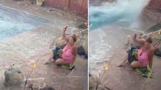 Woman's Pool Turns Into Tsunami During Earthquake