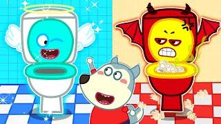 Wolf Family⭐️ Angel vs Demon Restroom - Wolfoo Kids Stories About Potty Training | Kids Cartoon