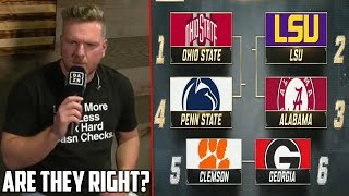 Pat McAfee Reacts to College Football Playoff Rankings