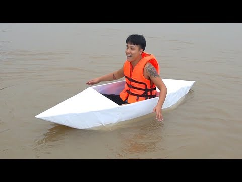 NTN - 4K Thử Thách Bơi Thuyền Giấy Ra Giữa Sông ( Swim to the middle of the river by paper boat )