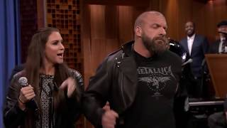 Triple H & Stephanie McMahon Lip Sync Moana's theme song - Hilarious