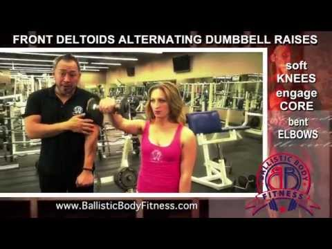 Alternating Dumbbell Front Raises for shoulders - BBF 90 Day Fitness Challenge Instruction Video #43