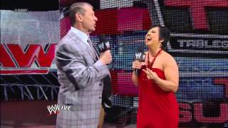 Mr. McMahon goads Vickie Guerrero into making Ziggler vs. Sheamus, then reveals Vickie will face AJ: