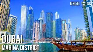 Dubai Marina Waterfront Walking Tour〚𝟒𝐊〛🇦🇪 United Arab Emirates