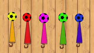Learn Colors with umbrellas and Balls - Kids Learning