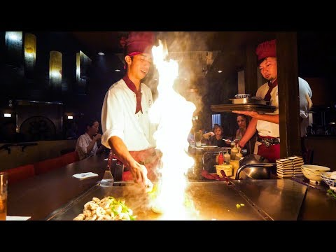 Teppanyaki LOBSTER & STEAK - Amazing Knife Skills and Fire Cooking in Waikiki, Hawaii!