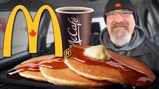 McDonald's Breakfast 🥞 Hotcakes & Sausage and McCafé Coffee ☕