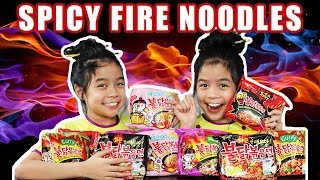 SAMYANG SPICY NOODLES CHALLENGE - GUESS THE FLAVORS   Tran Twins
