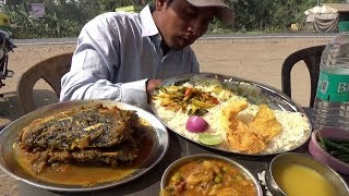 Outside Eating Show With Sound   Rohu Fish Head Curry  Aloo Bhaja   Jackfruit Vegetable & Rice