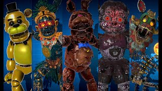 Fnaf ar: All Animatronic Workshop animations 1-100% + Melted Chocolate Bonnie (April 2021)
