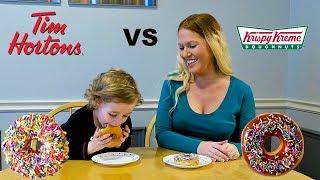 Tim Hortons VS Krispy Kreme | Doughnut Taste Test!