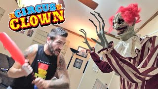 Dad Protects Son From Halloween Clown In Their House