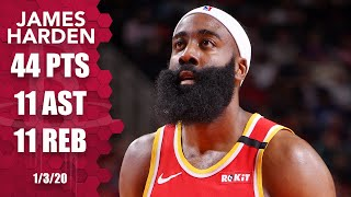 James Harden records 44-point triple-double in 76ers vs. Rockets | 2019-20 NBA Highlights