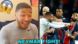 NEYMAR SLAPS ALVARO!! PSG VS MARSEILLE BRAWL REACTION (Le Classique FIGHT)