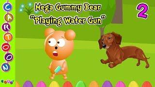 Cute mega gummy bear family Playing Water Gun finger family song many gummy bear videos ◕‿◕ KidsF