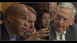 Senator Booker has HEATED Debate with Secretary Mattis over authorization of military force by POTUS
