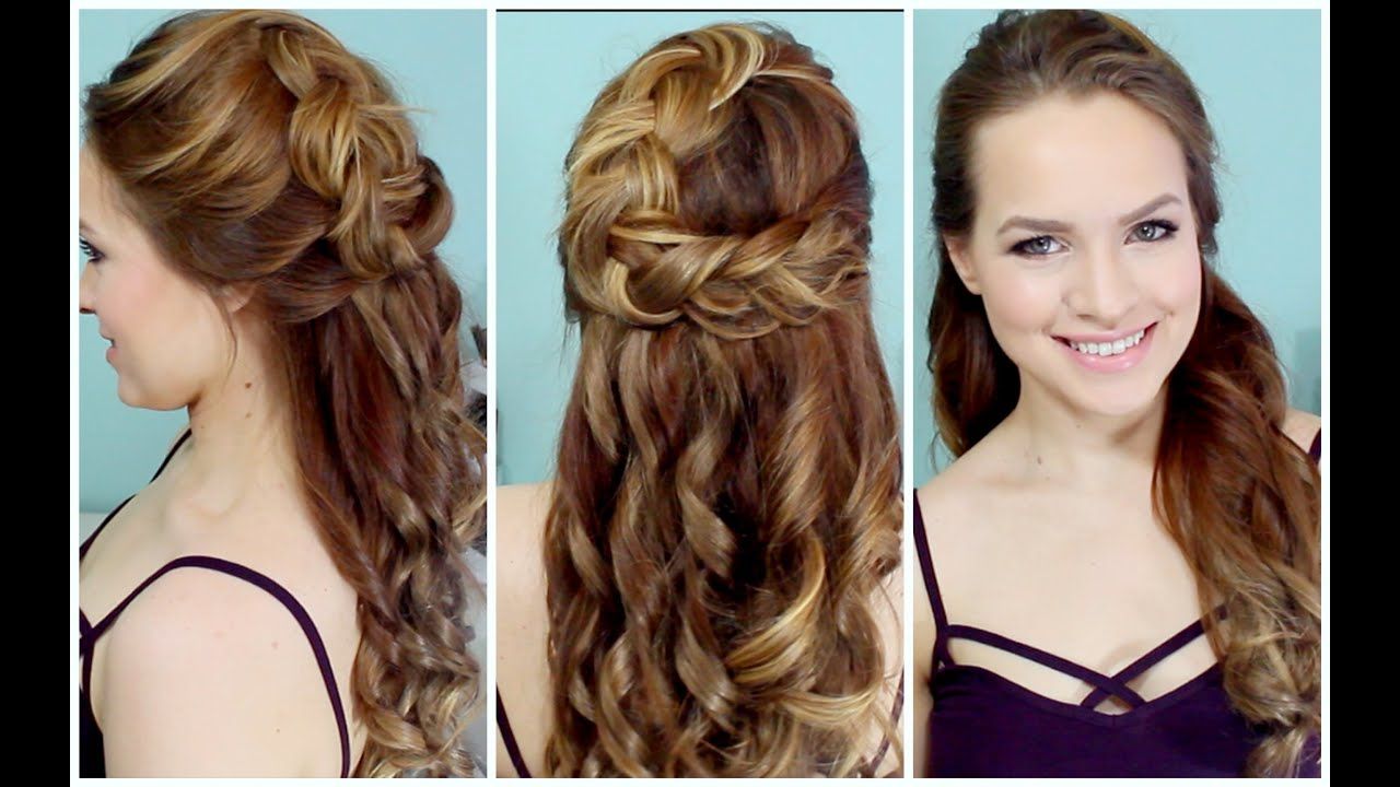 Half Up Braided Hairstyle For Prom!