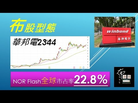 布股型態 觀察2344華邦電NOR Flash全球市占率22.8%!