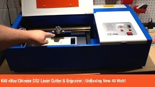 K40 eBay Chinese CO2 Laser Cutter & Engraver - UnBoxing New 40 Watt Unit!