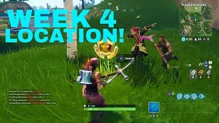 Search between a Gas station, Soccer pitch, and Stunt Mountain  Location Fortnite Week 4 Challenges