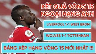 Kết quả Ngoại hạng Anh | Liverpool và Tottenham gây thất vọng lớn | Bảng xếp hạng vòng 15 mới nhất