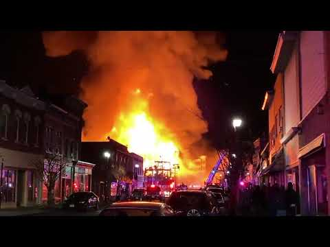 Massive fire rips through downtown Bound Brook, New Jersey