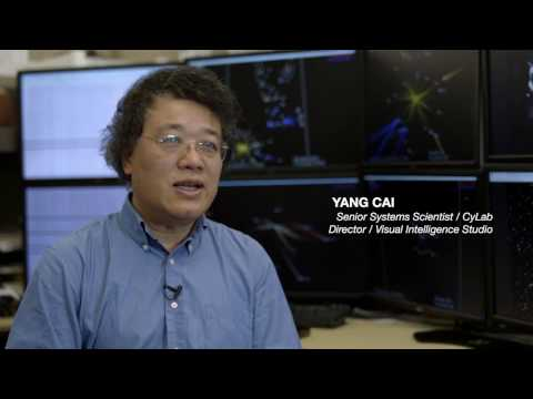 Carnegie Mellon CyLab researchers Yang Cai and Sebastian Peryt demonstrate their visualization tool that can be used to help thwart cyber attacks.