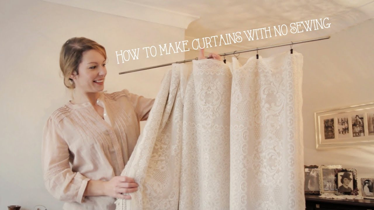 how to make curtains without sewing in minutes youtube. Black Bedroom Furniture Sets. Home Design Ideas