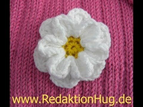 Blume häkeln - 8 Blätter - 3D Blume - TEIL 1 von 2   VideoMoviles.com
