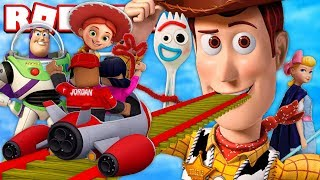 RIDING TOY STORY 4 ROLLER COASTER IN ROBLOX WITH THE PRINCE FAMILY