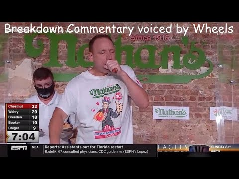 Joey Chestnut breaks the World Record with 75 Hot Dogs | Nathan's 2020 | (Breakdown voice by Wheels)