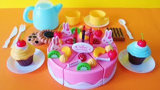 Toy birthday fruit cake cupcakes cookies tea party playset velcro cutting food